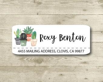 CACTUS, Succulents, Potted Plants, Return Address Label, Personalized, MATTE, Watercolor Style, Roxy Benton Designs
