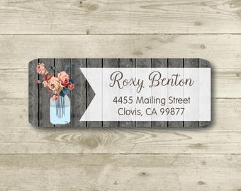 Flower Vase, Watercolor,  Wood Background, Rustic Style, Return Address Label, Personalized