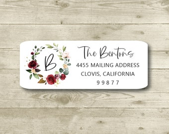 Roses, Watercolor Floral Wreath, Monogram, Elegant, Color Choices. Custom Return Address Label, Personalized, All Occasions