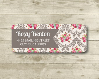 Chic, Return Address Label, Personalized, MATTE, Rose, Lace, Damask, Floral, Brown, Red, White