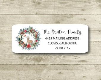 Deer in Christmas Wreath, Elegant Holiday, Watercolor, Return Address Labels, Personalized, Everyday, All Occasions, Holiday