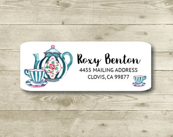 Tea Pot, Tea Cups, Rose, Blue Stripes, Watercolor Style, Return Address Label, Personalized, MATTE, Everyday, All Occasions