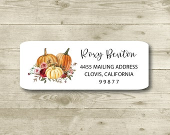 Pumpkins and Roses, Watercolor Style, Return Address Label, Personalized, Holiday, Fall, Halloween, Thanksgiving