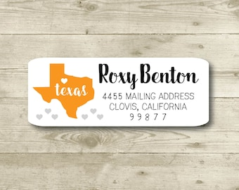 I Heart Texas, Hearts, Return Address Label, Personalized, MATTE, All Occasions, State