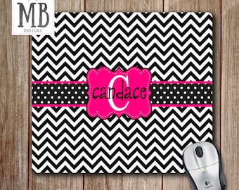 Chevron Mousepad With Monogram, Personalized Mouse Pad, Cute Office  Accessories, Custom Mouse Pads, Black And White Chevron