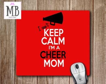 Cheer Mom Mousepad, Keep Calm Mouse Pad, Cheer Mom Decor, Cheerleading decor, Desk Accessories