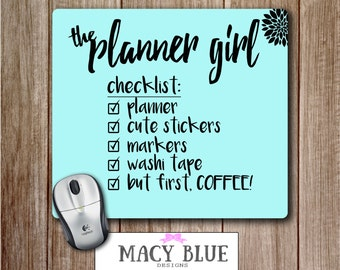 Planner Girl Checklist Mousepad, Happy Planner Mouse Pad, Cute Desk Accessories, Planner Accessories, Office Accessories, Back To School