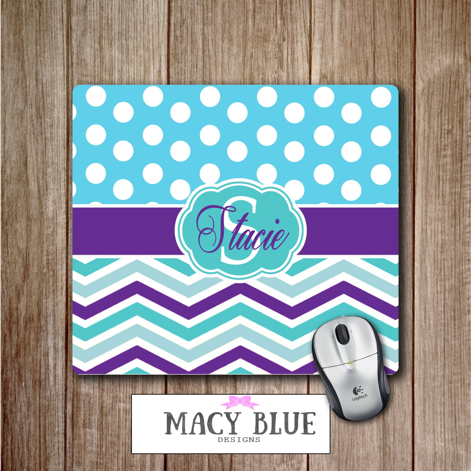 Monogram Office Decor Mouse Pad Teal And Purple Chevron
