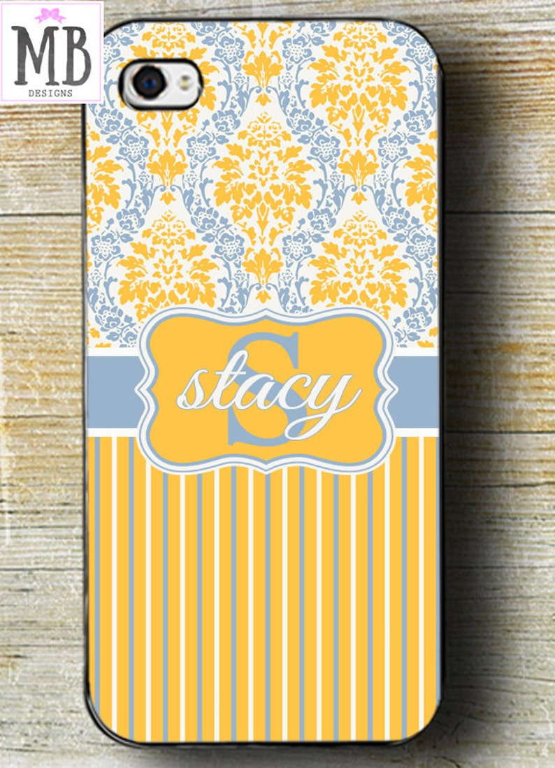 timeless design 1df56 ddafb Yellow iPhone Case, monogram iphone, monogram case, iPhone 8 case, yellow  and blue case, monogram gift, iphone 7 phone case, 6 plus phone