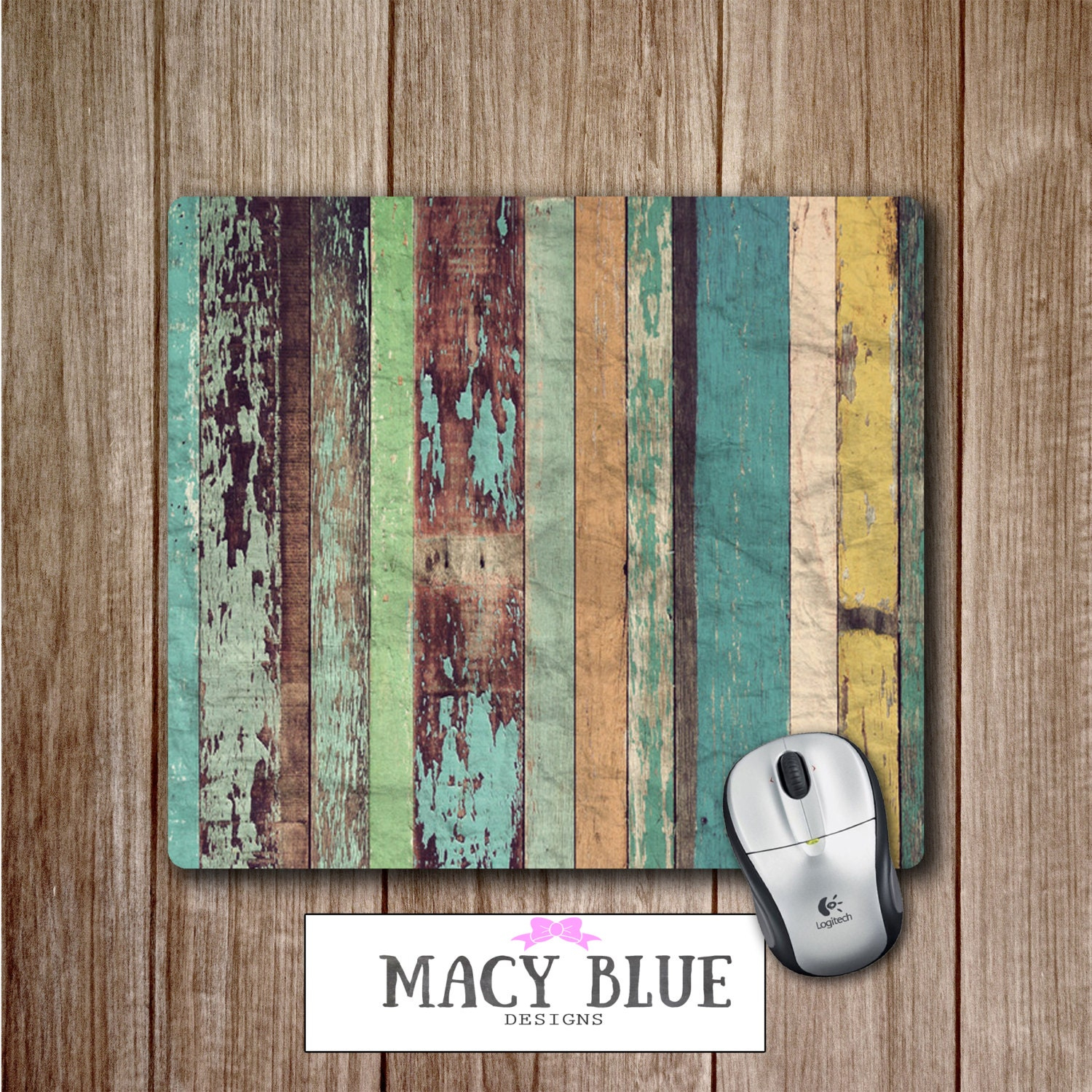 Wood Grain Printed on Mouse Pad, Office Accessories, Desk