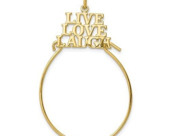 0b930a60d4ad6 10K Yellow Gold Live Love Laugh Charm Holder Pendant