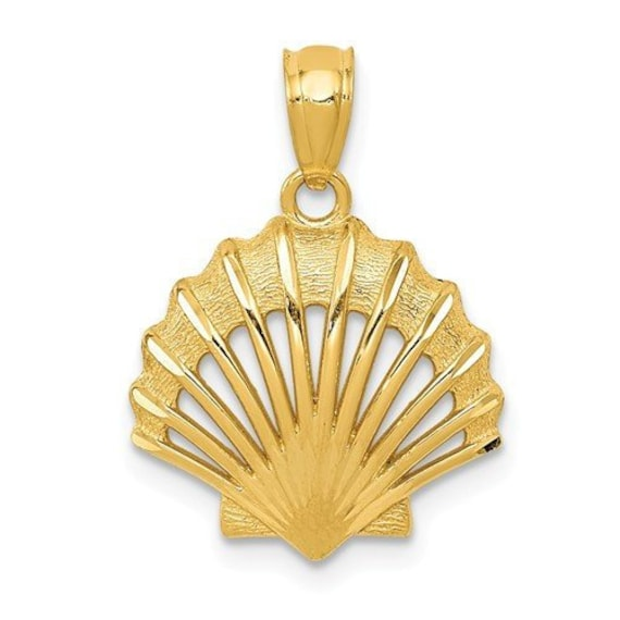 14k Yellow Gold 3-D Enamel Conch Shell Pendant on a 14K Yellow Gold Chain Necklace