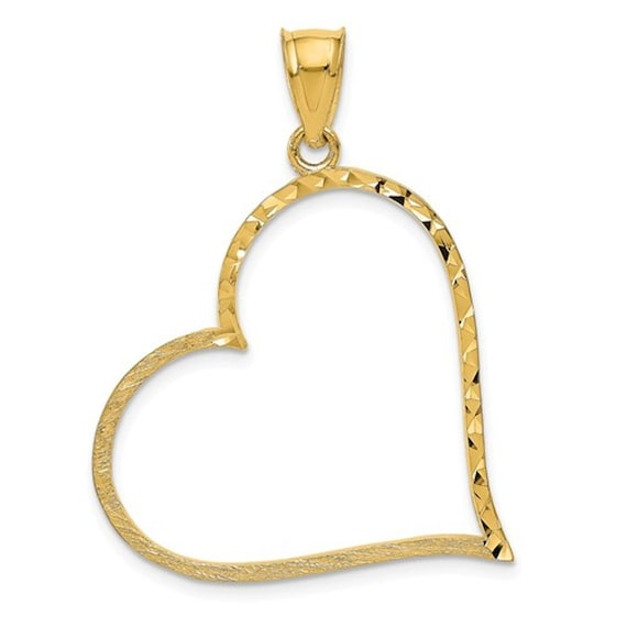 Heart Love Reversible Diamond Cut Pendant Necklace Real 14K Yellow White Gold