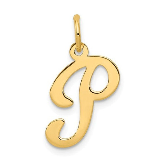 14k White Gold Small Block Initial P Charm