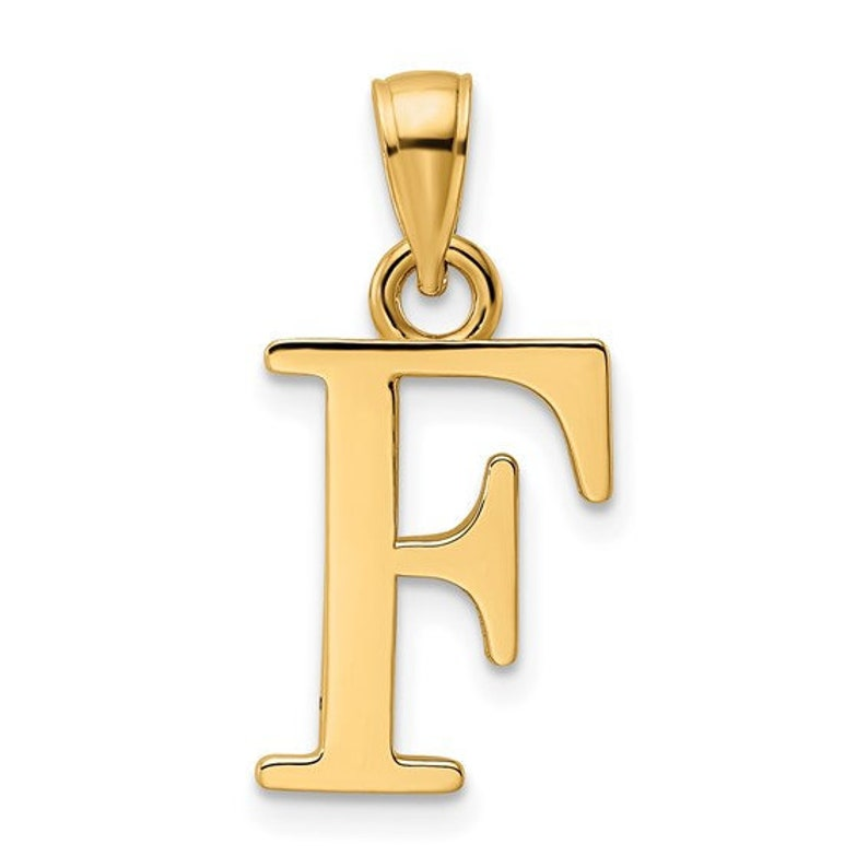 14K Yellow Gold Uppercase Initial Letter F Block Alphabet Large Pendant Charm