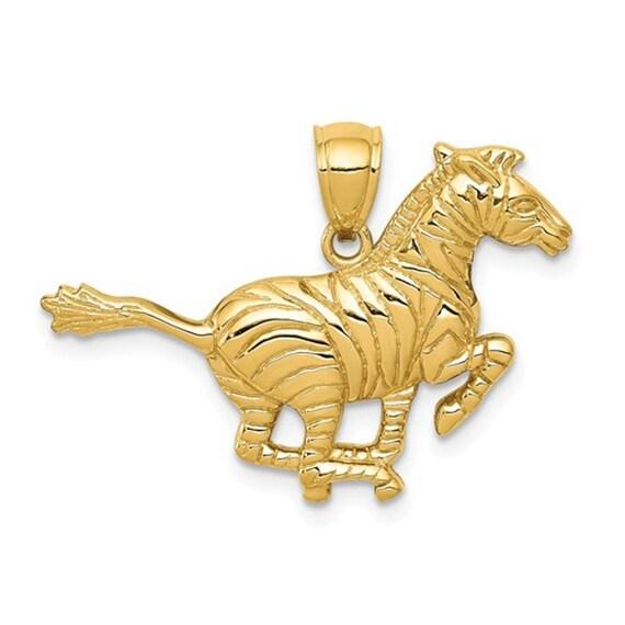 14K Yellow Gold Running Zebra Open Back Pendant Ch