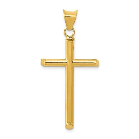 14K White Gold Polished Hollow Cross Pendant