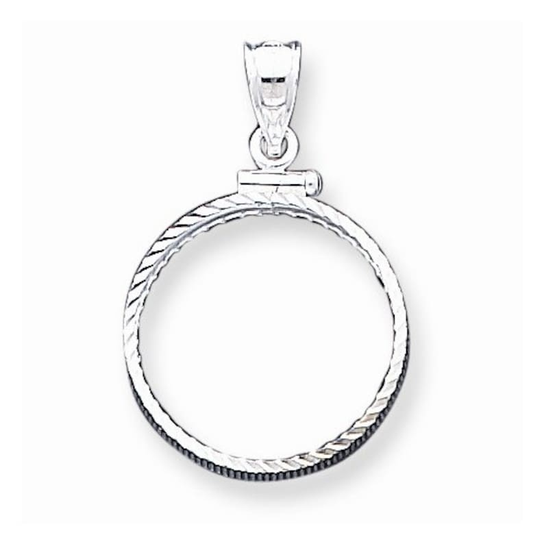 Nickel Coin Holder Bezel Pendant Charm Screw Top Solid Sterling Silver 21.1mm x 2mm U.S