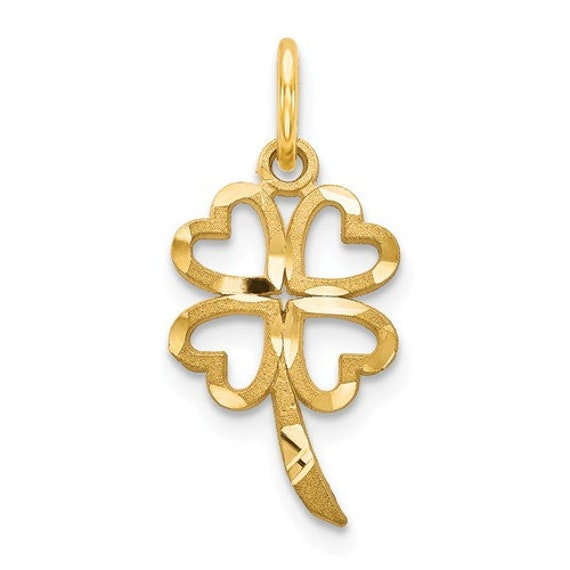 10k Yellow Gold Four Leaf Clover Polished Charm Pendant