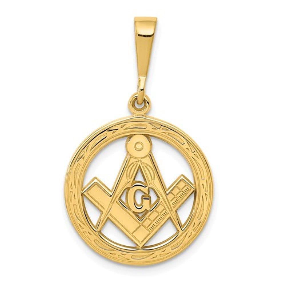 14k Yellow Gold Masonic Pendant Charm Etsy