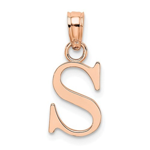 Solid 14k Yellow Gold Small Block Initial D Pendant Charm 10mm x 18mm