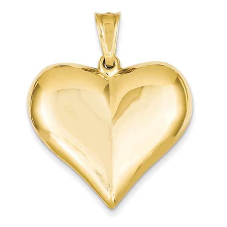 14K Yellow Gold Puffy Heart 3D Hollow Large Pendant Charm
