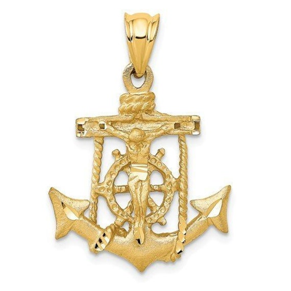 14K Two-tone Gold Religious Mariner Crucifix Charm Pendant 25mm x 25mm