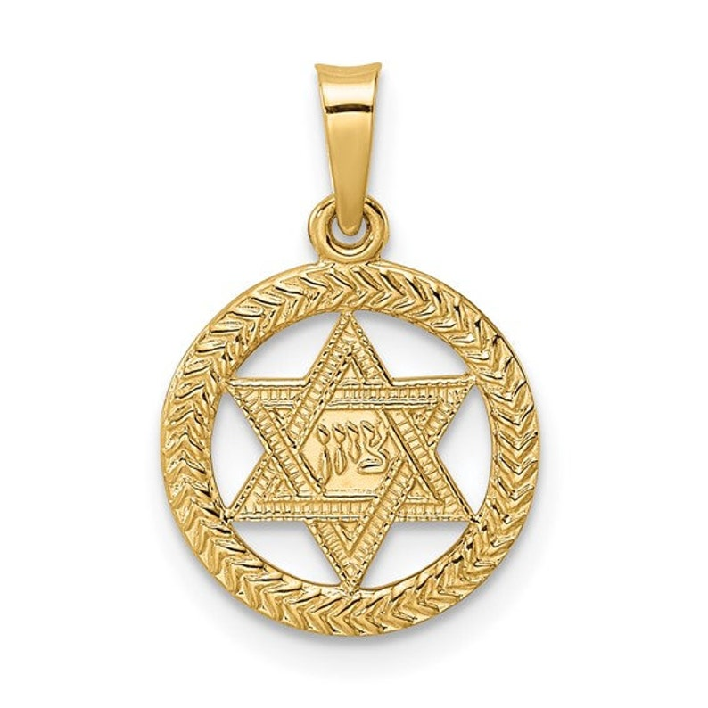 14K Yellow Gold Star of David Textured Circle Round Frame Small Pendant Charm