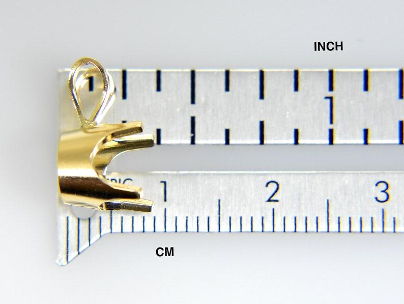 14K Yellow 14k White Gold 4 Prong Low Base Pendant Mounting or Mount for 1.7mm 2mm 3mm 4mm 5mm 6mm 7mm 8mm Stones Gemstones Diamonds