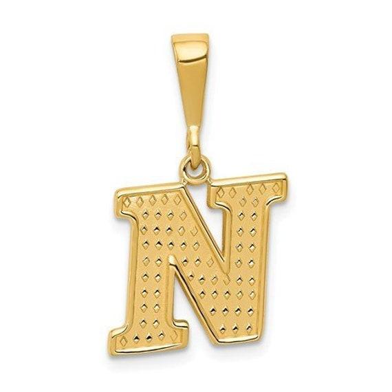 Mia Diamonds 14k White Gold Small Block InitialI Charm