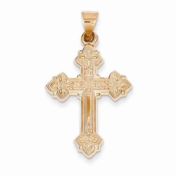 Solid 14k Rose Gold Cross Charm Fleur-de-Lis Crucifix Pendant Necklace