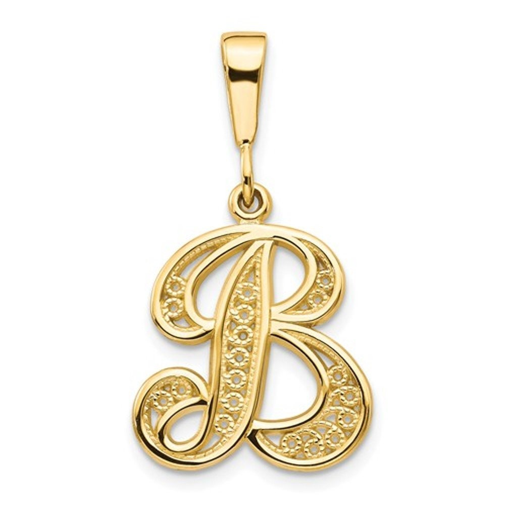 11mm x 17mm Solid 14k Yellow Gold Small Script Initial D Pendant Charm