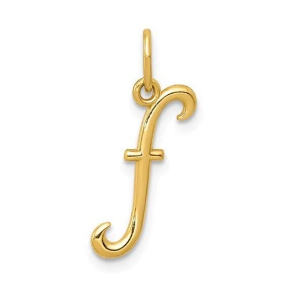 Script Letter F Pendant Cursive Alphabet Charm Initial 14K Yellow Gold