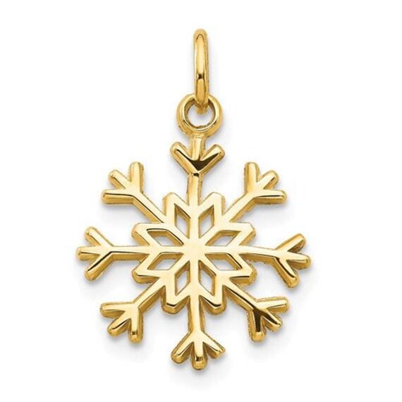 10k Yellow w//Rhodium And Rhodium Snowflake Charm