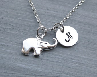 Sterling Silver Elephant Necklace Initial Necklace Hand Stamped Personalized Jewelry Teen Jewelry Elephant Jewelry Elephant Charm