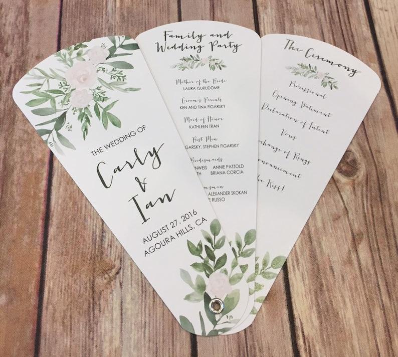 Greenery Wedding Program Fans Petal Fan Programs Fan Etsy