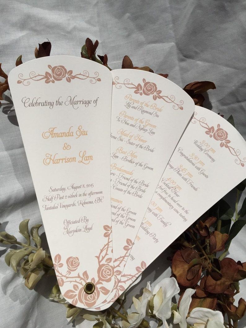 Wedding Program Fans, Petal Fan Programs, Fan Programs - Rose Garden