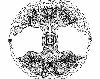 Giclee fine art print, Tree of Life, original pen and ink print, optional framing, free shipping
