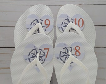 Size Tag for Flip Flops at Wedding, Easy, No Knot Tying, Heart Shaped Flip-Flop, thong sandal, flippies, number labels.
