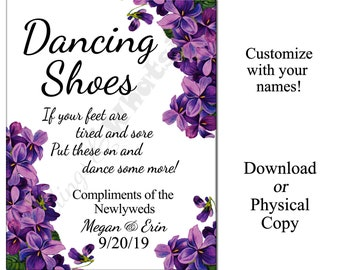 Personalized Wedding Dancing Shoes Flip-Flop Sign with Purple Flowers
