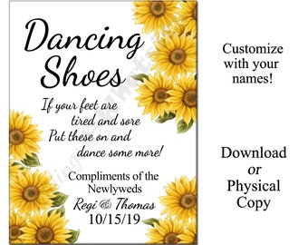 Personalized Wedding Dancing Shoes Flip-Flop Sign with Sunflowers
