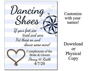Nautical Wedding Personalized Dancing Shoes Flip-Flop Sign with Compass and Rope Heart