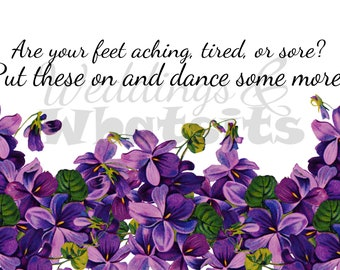 Wedding Sign for Sandals, Flip Flops with Purple Flowers. Downloadable.