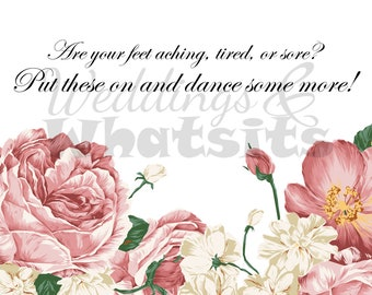 Sign for Wedding Flip Flops or Sandals with Pink Peony Flowers . Downloadable.