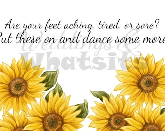 Sign for Wedding Flip Flops or Sandals with Yellow Sunflowers . Downloadable.