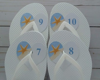 Size Tag for Flip Flops at Beach Wedding, Easy, No Knot Tying, Heart Shaped Flip-Flop, thong sandal, flippies, number labels.