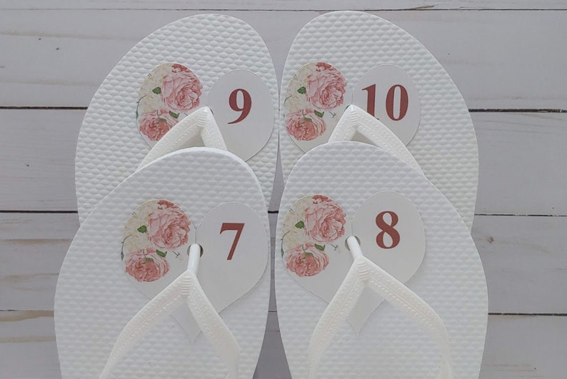 Size Tag for Flip Flops at Wedding Easy No Knot Tying Pink Flowers