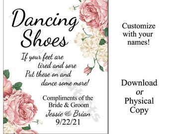 Personalized Wedding Dancing Shoes Flip-Flop Sign with Pink Peony Flowers