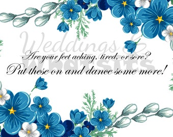 Wedding Sign for Sandals, Flip Flops with Blue Flowers. Downloadable.