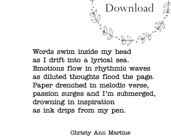 Writing Quotes - Poetry - Gift for Writers - 5 x 7 DIGITAL DOWNLOAD - Creative Flow Poem